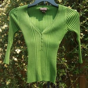 Sweaters - Green ribbed sweater